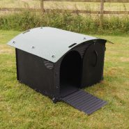 Duck/Goose House  £280.00  Our Duck / Goose House Large is made from recycled plastic and is suitable for two large geese, such as African, or it can take up to 8 call ducks , or four medium ducks khaki campbells etc .